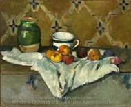 Still Life with Jar, Cup, and Apples painting reproduction, Paul Cezanne