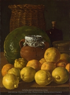 Still Life with Lemons and Oranges painting reproduction, Luis Eugenio Melendez