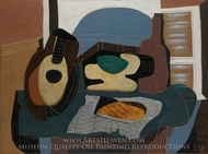 Still Life with Mandolin and Galette painting reproduction, Pablo Picasso (inspired by)