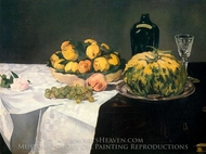 Still Life with Melon and Peaches painting reproduction, Edouard Manet