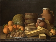 Still Life with Oranges and Walnuts painting reproduction, Luis Eugenio Melendez