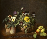 Still Life with Pansies painting reproduction, Henri Fantin-Latour