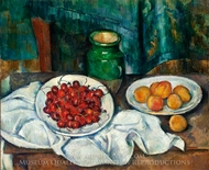 Still Life with Plate of Cherries painting reproduction, Paul Cézanne