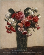 Still Life with Roses and Asters in a Glass painting reproduction, Henri Fantin-Latour