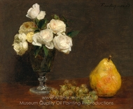 Still Life with Roses and Fruit painting reproduction, Henri Fantin-Latour