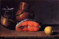 Still Life with Salmon, a Lemon and Three Vessels painting reproduction, Luis Eugenio Melendez