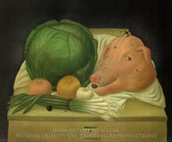 Still Life with the Head of Pork painting reproduction, Fernando Botero