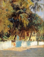 Street Scene in Bombay painting reproduction, Edwin Lord Weeks