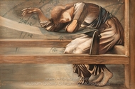 Study for the Garden Court painting reproduction, Edward Burne-Jones