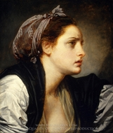 Study Head of a Woman painting reproduction, Jean Baptiste Greuze