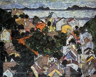 Summer Landscape, Krumau painting reproduction, Egon Schiele