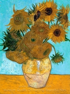 Sunflowers (12 in a vase) painting reproduction, Vincent Van Gogh