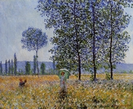 Sunlight Effect Under the Poplars painting reproduction, Claude Monet