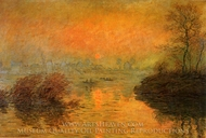 Sunset at Lavacourt painting reproduction, Claude Monet
