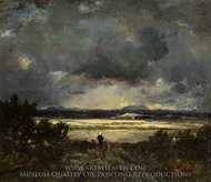Sunset in the Auvergne painting reproduction, Theodore Rousseau