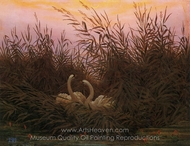 Swans in the Reeds at the First Dawn painting reproduction, Caspar David Friedrich