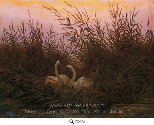 Caspar David Friedrich, Swans in the Reeds at the First Dawn oil painting reproduction