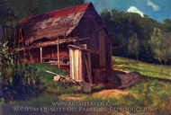 Swiss Mountain Cabin painting reproduction, Albert Bierstadt