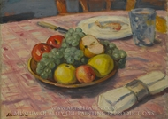 Table Setting with Fruit painting reproduction, Albert Andre