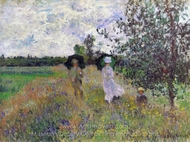 Taking a Walk Near Argenteuil painting reproduction, Claude Monet