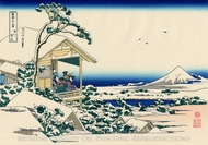 Tea House at Koishikawa, The Morning After a Snowfall painting reproduction, Katsushika Hokusai