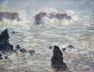 Tempete, cotes de Belle-Ile painting reproduction, Claude Monet