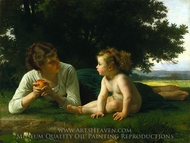 Temptation painting reproduction, William Adolphe Bouguereau