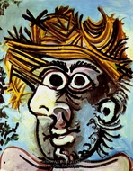 Tete d'Homme au Chapeau de Paille painting reproduction, Pablo Picasso (inspired by)