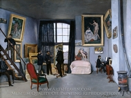 The Artists Studio on the rue de la Condamine painting reproduction, Jean Frederic Bazille