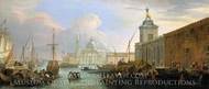 The Bacino, Venice, with the Dogana and a Distant View of the Isola di San Giorgio painting reproduction, Luca Carlevaris