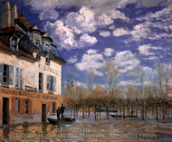 The Bark During the Flood, Port Marly painting reproduction, Alfred Sisley