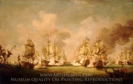 The Battle of Barfleur, 19 May 1692 painting reproduction, Richard Paton