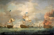 The Battle of Camperdown, 11 October 1797 painting reproduction, Thomas Whitcombe