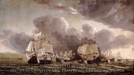 The Battle of Leghorn, 4 March 1653 painting reproduction, Reinier Nooms