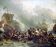 The Battle of Texel, 11 August 1673 painting reproduction, Ludolf Backhuysen