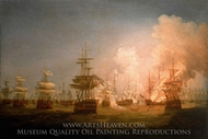 The Battle of the Nile, 1 August 1798 painting reproduction, Thomas Whitcombe