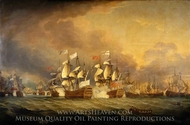 The Battle of the Saints, 12 April 1782 painting reproduction, Thomas Mitchell