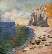 The Beach and the Falaise d'Amont painting reproduction, Claude Monet