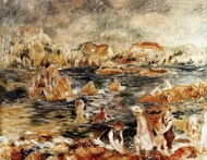 The Beach at Guernsey painting reproduction, Pierre-Auguste Renoir