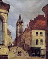 The Belfry of Douai painting reproduction, Jean-Baptiste Camille Corot