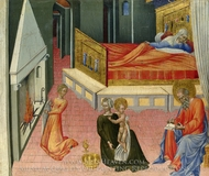 The Birth of Saint John the Baptist - Predella Panel painting reproduction, Giovanni Di Paolo