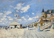 The Boardwalk on the Beach at Trouville painting reproduction, Claude Monet