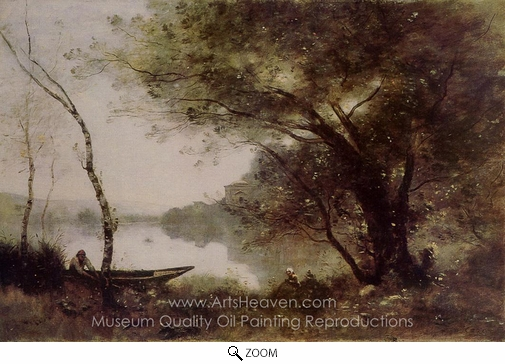 Jean-Baptiste Camille Corot, The Boatman of Mortefontaine oil painting reproduction