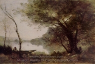The Boatman of Mortefontaine painting reproduction, Jean-Baptiste Camille Corot