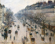 The Boulevard Montmartre on a Winter Morning painting reproduction, Camille Pissarro