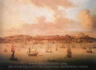 The British Fleet Sailing into Lisbon Harbour painting reproduction, Peter Monamy