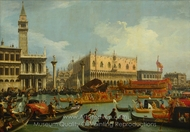The Bucintoro Returning to the Molo on Ascension Day painting reproduction, Canaletto