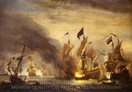 The Burning of HMS Royal James at the Battle of Solebay, 28 May 1672 painting reproduction, Willem Van De Velde