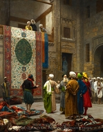The Carpet Merchant (The Rug Market in Cairo) painting reproduction, Jean-Leon Gerome