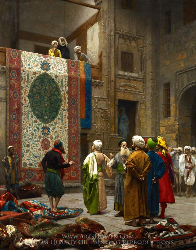 Wonderful Jean Leon Gerome, The Carpet Merchant (The Rug Market In Cairo) Oil